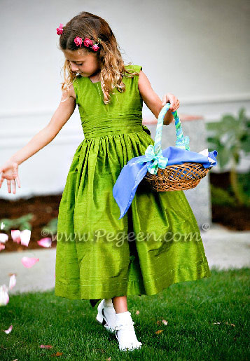 Grass green silk flower girl dress