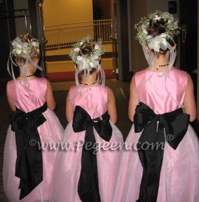 Bubblegum Pink and Black flower girl dresses