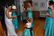 tiffany blue & black flower girl dresses