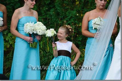 tiffany blue and black flower girl dresses