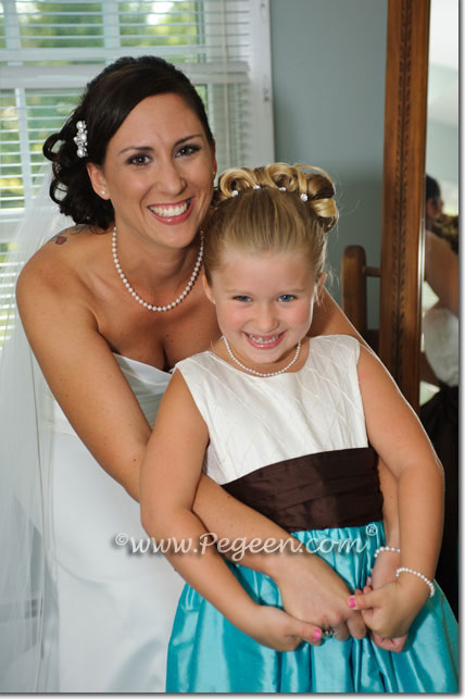 Flower Girl Dress in Chocolate Brown and Tiffany Blue Style 357