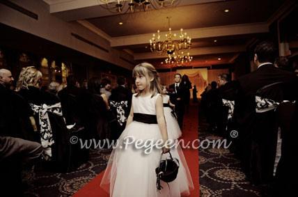 Black and White  tulle flower girl dress