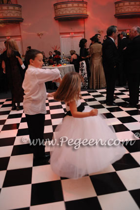 Flower Girl Dresses in Antique White and Black Silk and Tulle