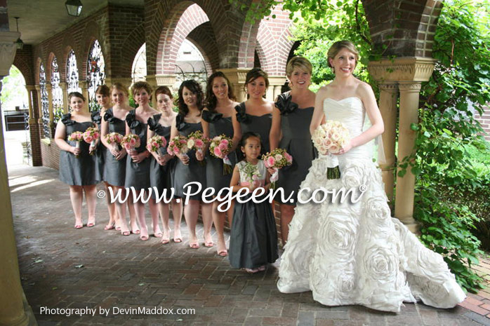 Pewter Gray and Woodrose Pink Silk flower girl dresses by Pegeen.com