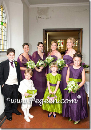 green and grape ring bearers and flower girl dress