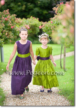 Grass Green and Concord Grape Silk  Flower Girl Dresses