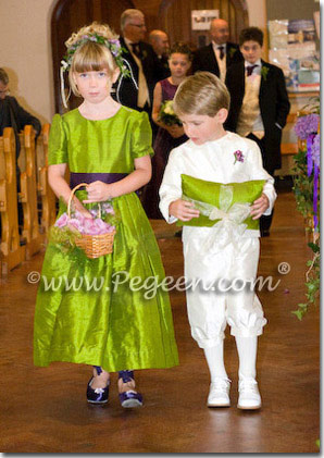 Green grass and purple grape flower girl dresses