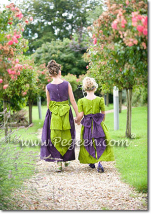 Green and purple silk flower girl dress