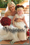 Flower Girl Dresses of the Month Champagne Tulle and Claret Red Silk -  Pegeen Couture Flower Girl Dress Style 402