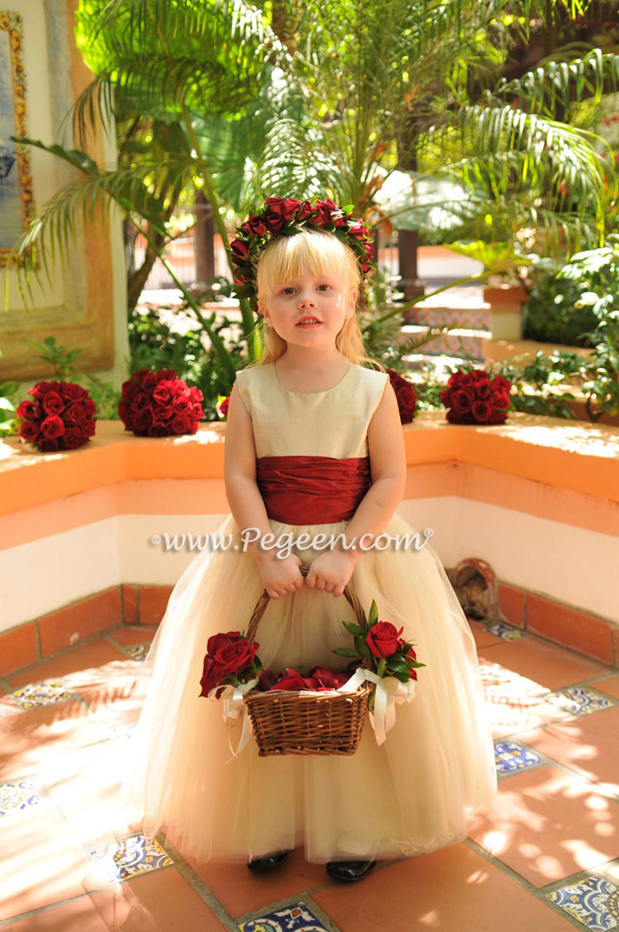 Champagne Ivory and Claret Red tulle flower girl dress