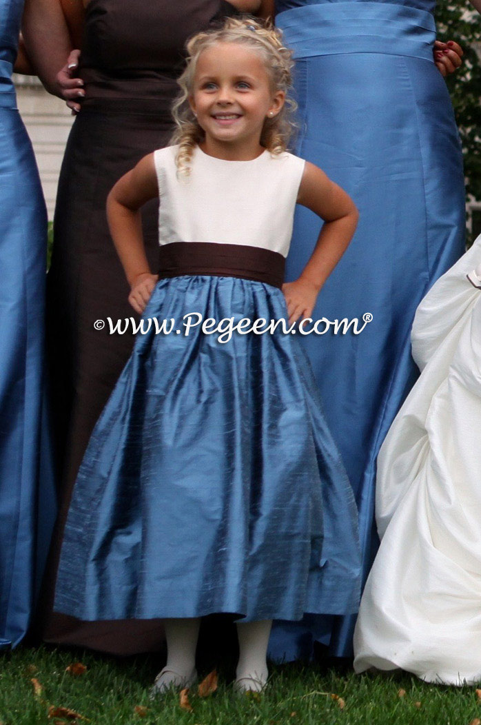 Silk flower girl dresses in Arial Blue and Chocolate Brown
