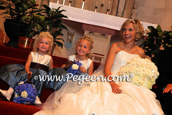 blue and brown chocolate silk couture flower girl dresses