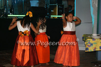 flower girl dresses in Orange, cranberry and mango