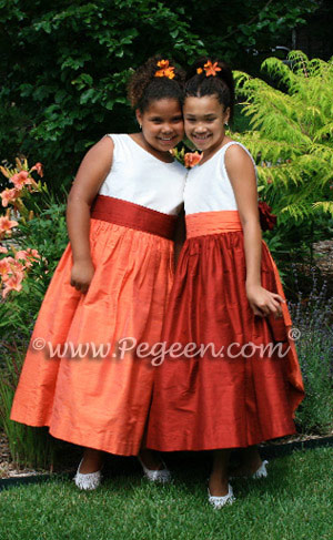 lower Girl Dresses in Orange, Cranberry and Mango silk