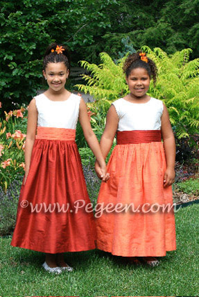 Flower Girl Dresses in Orange, Cranberry & Mango- Pegeen Flower Girl Dress Style 383