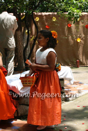 Flower Girl Dresses in Orange, Cranberry & Mango-Pegeen Flower Girl Dress Style 383