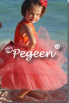 Flower Girl Dresses of the Month in Cantelope, Coral Rose, Oranges Tulle