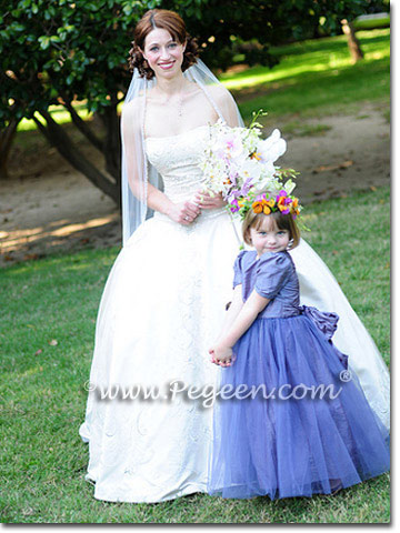 Flower Girl Dresses in Silk and Tulle in Euro Lilac in Style 356
