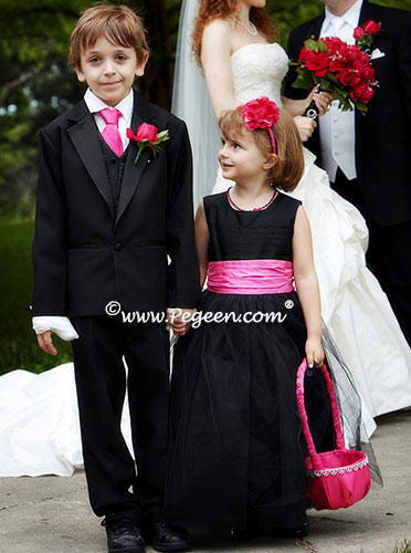 Black and hot pink silk flower girl dress with black tulle