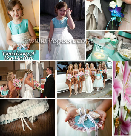 New Ivory and Aqua (tiffany) Blue Tulle and Silk flower girl dresses
