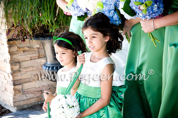 Clover green silk flower girl dress