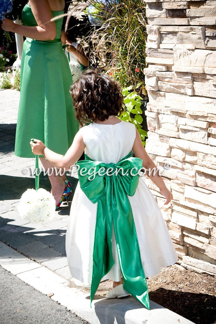 Flower Girl Dresses in Clover Green and Creme (Bisque) Style 398