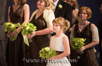 Ivory, Chocolate brown and Sprite green flower girl dresses