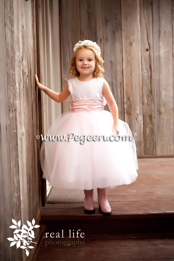 Antique White and Petal Pink Flower Girl Dress of the Month