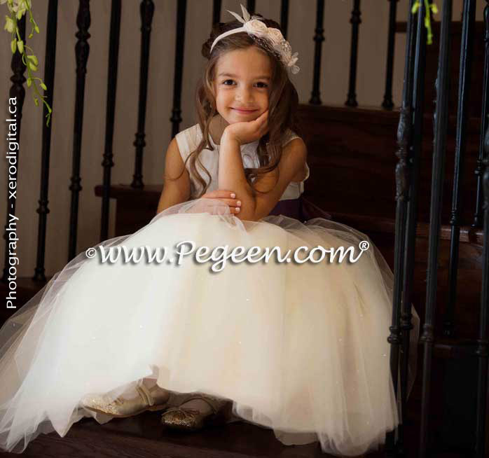 Flower girl dresses in style 402 in ivory and euro lilac with Pegeen Signature Bustle