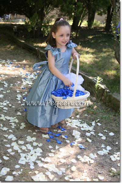 Adriatic blue silk flower girl dress, France