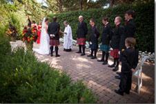Mustard Yellow and Cranberry Red Silk flower girl dress - Scottish Wedding