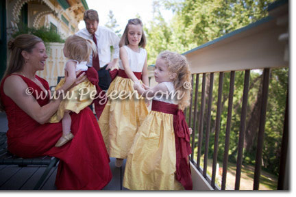Mustard Yellow and Cranberry Red Silk flower girl dress
