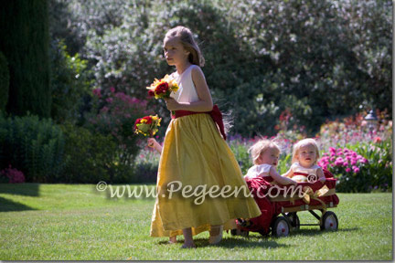 Yellow and red flower girl dresses
