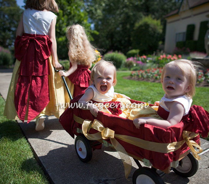 Mustard and red silk - Baby flower girls are pulled in a wagon