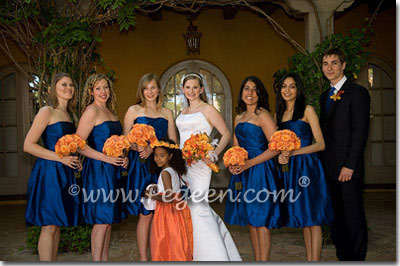 Flower Girl Dresses in Antique White Silk and Crystal Diamond Bodice and Orange in Style 355 - Navy and Orange Wedding