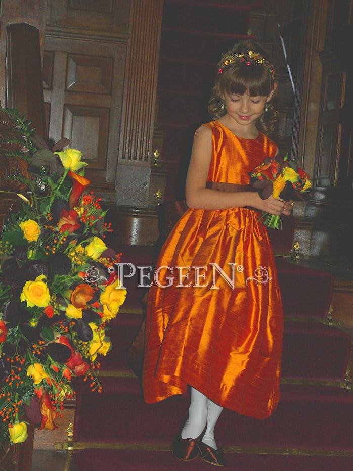 Pumpkin Orange and Chocolate Brown  flower girl dress