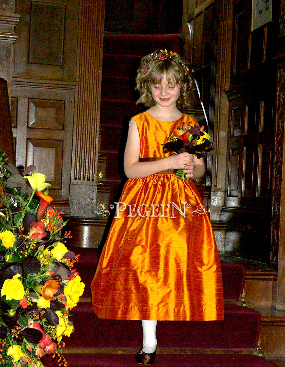 Flower Girl Dress in orange and brown with matching boy's vests