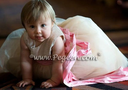 Petal Pink and Champagne Tulle flower girl dress