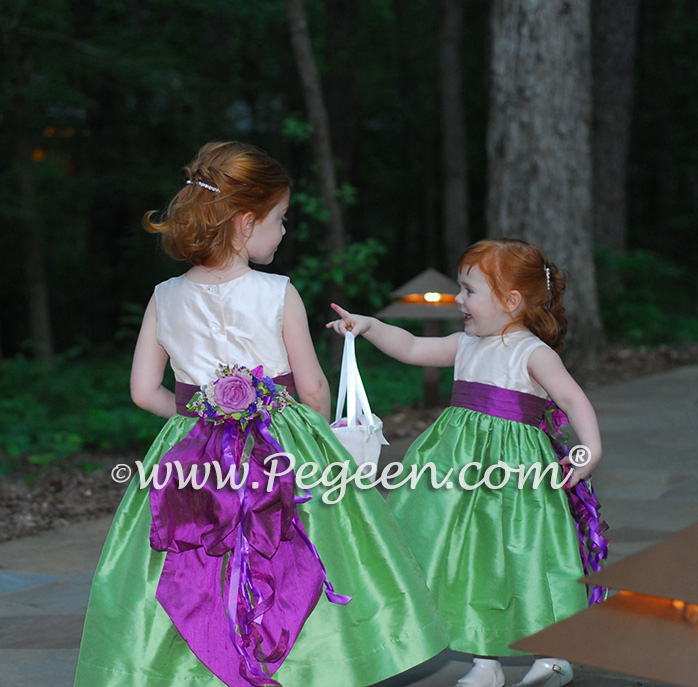 Kelly green and thistle silk flower girl dress
