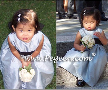Slate blue and black Toddler Flower Girl Dresses