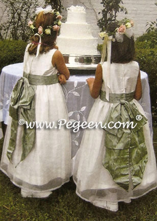 New Ivory and sage flower girl dresses