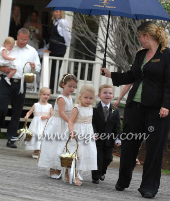 gold and ivory flower girl dresses