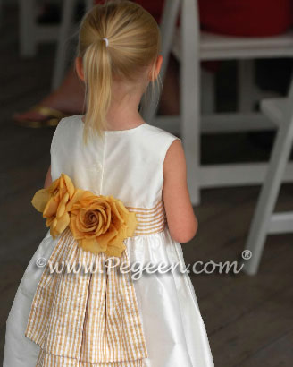Gold check and ivory silk flower girl dress at Martha's Vineyard