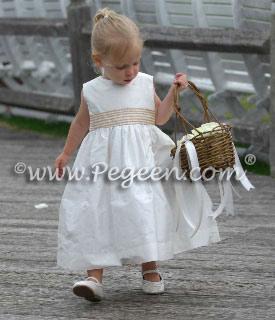 Gold Gingham Check Silk flower girl dress