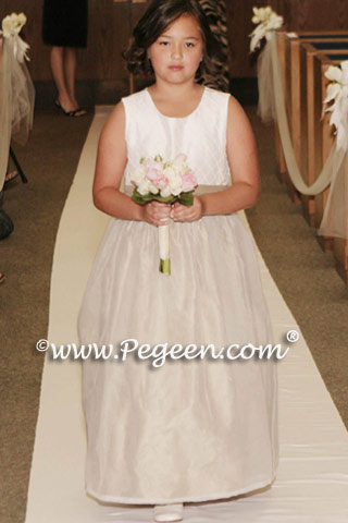 Summer Tan and White Pin Tuck Bodice custom flower girl dresses