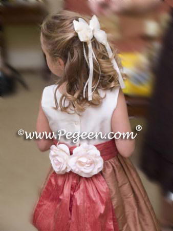 Ginger Brown and Coral Rose flower girl dress