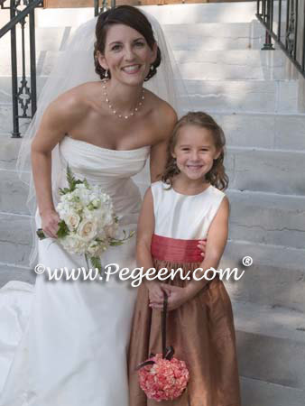 Flower Girl Dresses in Ginger with spice sashes, ivory top and multi back flower