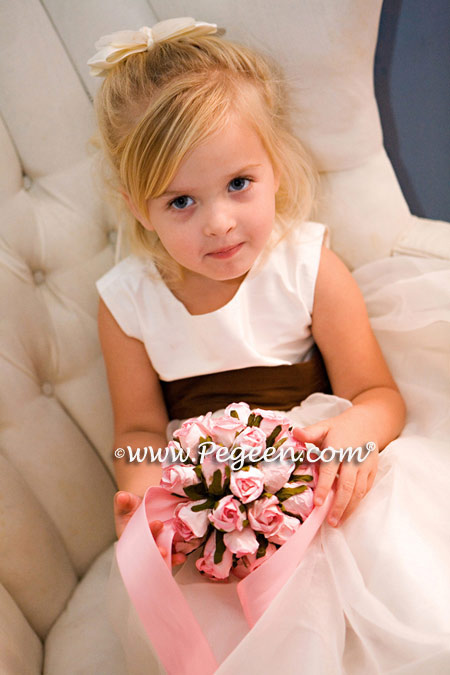 Toddler Flower girl dress in ivory and chocolate brown silk