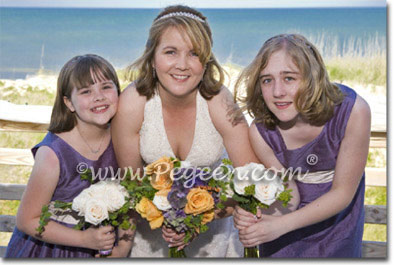 Ivory and purple beach themed weddings