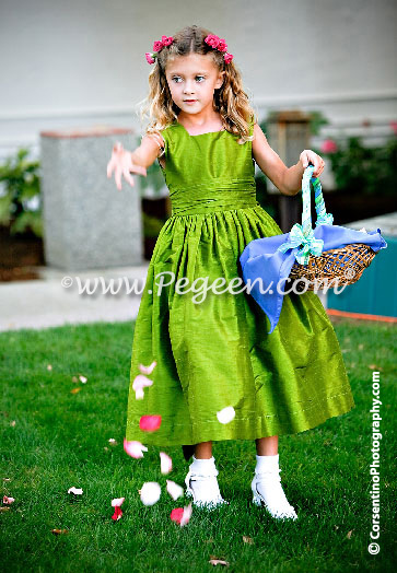 Green Grass Silk flower girl dresses
